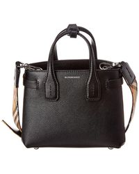 Burberry Baby Banner Vintage Check & Leather Shoulder Bag - Black