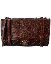 Chanel Brown Studded Parisdalls Studded Single Flap Messenger Bag