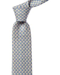 Ferragamo Blue Dolphin Print Silk Tie