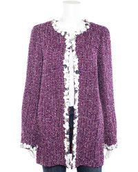 Chanel Purple & White Cotton Sequin Trim Long Blazer Coat (size 40, Never Worn)