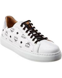 MCM Visetos Leather Sneaker - White