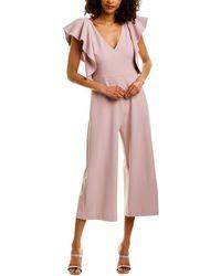 Badgley Mischka Ruffle Crop Jumpsuit - Purple