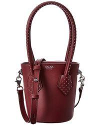 Salar Celia Dots Leather Bucket Bag - Red