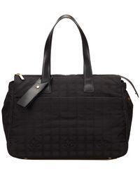 Chanel Black Jacquard Travel Line Duffel Bag