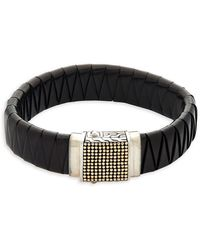 John Hardy - 18k Yellow Gold, Sterling Silver & Leather Bracelet - Lyst