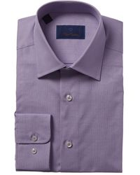David Donahue Regular Fit Dress Shirt - Purple