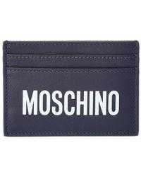 Moschino Logo Print Leather Card Holder - Blue
