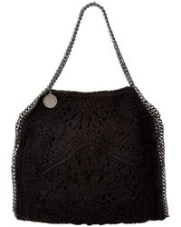 Stella McCartney Falabella Small Crochet Ajouree Tote - Black