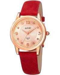 August Steiner Red Genuine Leather Diamond Watch