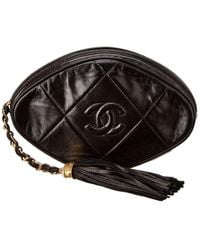 Chanel Black Lambskin Leather Oval Pouch