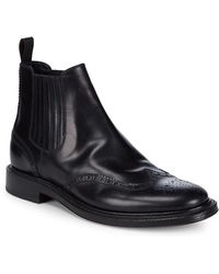 Brioni Leather Goodyear Brogue Ankle Boots - Black