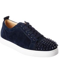 Christian Louboutin Louis Junior Studded Suede Trainers - Blue