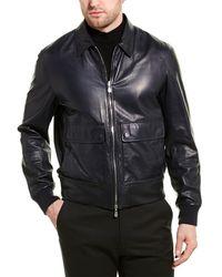 Brunello Cucinelli Reversible Leather Jacket - Blue