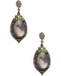 Bavna - Silver Earrings With Champagne Rose Cut Diamonds & Green Turmiline - Lyst