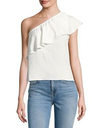 7 For All Mankind 7 For All Mankind Ruffled One-shoulder Top - White