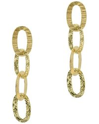 Argento Vivo 18k Over Silver Textured Oval Link Drop Earrings - Metallic