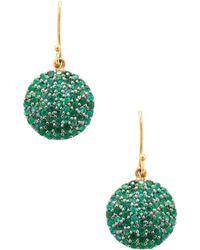 Karma Jewels - Silver & Emerald Disc Drop Earrings - Lyst