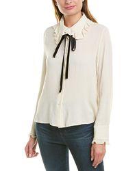 Moon River Ruffle Linen-blend Woven Shirt - White