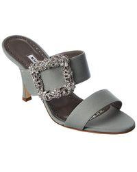 Manolo Blahnik Gable Jewel 90 Leather Sandal - Grey