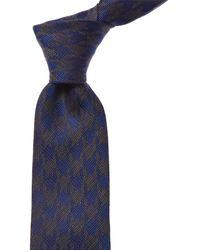 Kiton Blue Houndstooth Silk & Linen-blend Tie