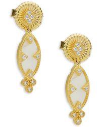 Freida Rothman - Crystal, Mother-of-pearl & Sterling Silver Textured Dangle & Drop Earrings - Lyst