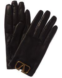 Valentino Vlogo Cashmere-lined Leather Gloves - Black