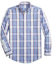 Brooks Brothers Non-iron Regent Fit Multi-plaid Sport Shirt - Blue