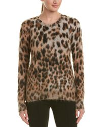 Saint Laurent Leopard Print Mohair & Wool-blend Top - Brown
