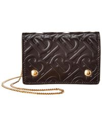 Burberry The Jessie Chain Tb8 Wallet On Chain In Black Tb Monogrammed Calfskin