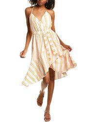 Kendall + Kylie Linen-blend Wrap Dress - Yellow