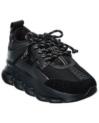 Versace Chain Reaction Leather & Mesh Trainer - Black
