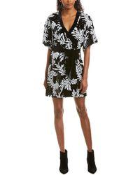 Jay Godfrey Lanai Sequin Floral Elbow-sleeve Kimono Wrap Dress - Black