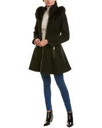 Laundry by Shelli Segal Flare Wool-blend Coat - Black