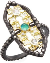 Armenta - Old World 18k Gold, Malachite, Moonstone & 0.20 Total Ct. Diamond Petite Scalloped Shield Stack Ring - Lyst