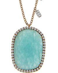 Meira T - 14k 7.74 Ct. Tw. Diamond & Amazonite Necklace - Lyst