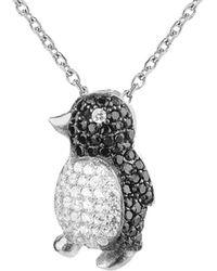 Gabi Rielle Silver Cz Penguin Necklace - Metallic