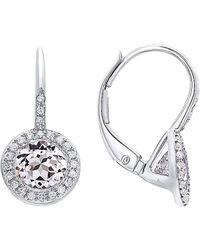 Diana M. Jewels . Fine Jewellery 14k 1.53 Ct. Tw. Diamond & White Topaz Earrings