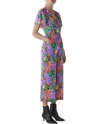 Whistles Simone Floral Print Silk Jumpsuit - Blue