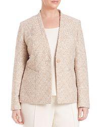 Lafayette 148 New York Plus Kara Embroidered Jacket - Natural