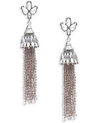 Gemma Simone Beaded Linear Earrings - Black