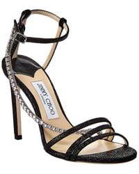 Jimmy Choo Thaia Crystal Glitter Sandals - Black