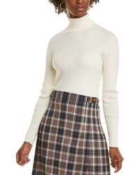 Tory Burch Ribbed Tech Stretch Turtleneck Sweater - White