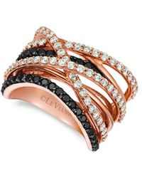Le Vian Exotics 14k Rose Gold 1.56 Ct. Tw. Black & White Diamond Ring - Multicolour