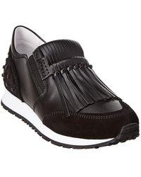 Tod's Fringe Leather Slip-on Trainer - Black
