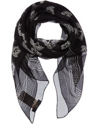 Versace Medusa Print Silk Scarf - Black