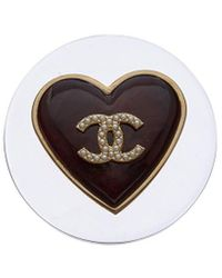 Chanel Gold-tone Clear Acrylic Heart Pin - Metallic