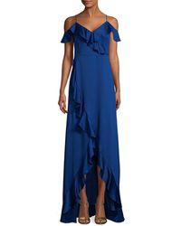 Aidan Mattox Off-the-shoulder Flounce Gown - Blue