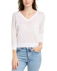 Vince 3/4-sleeve V-neck Sweater - White