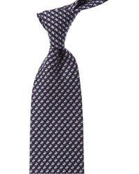 Ferragamo Mouse Print Silk Tie - Blue