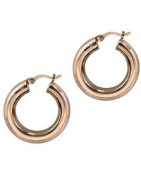 Argento Vivo 18k Rose Gold Over Silver Small Chunk Tube Hoops - Metallic